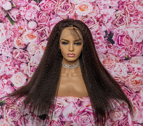 Kelly Kinky Straight HD Lace 200 density Virgin Human Hair wig