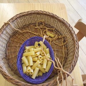 threading pasta necklaces