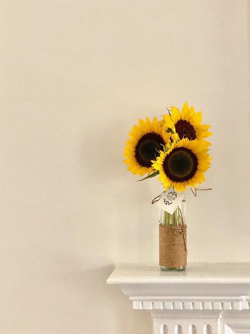 3 Golden Sunflowers in vase