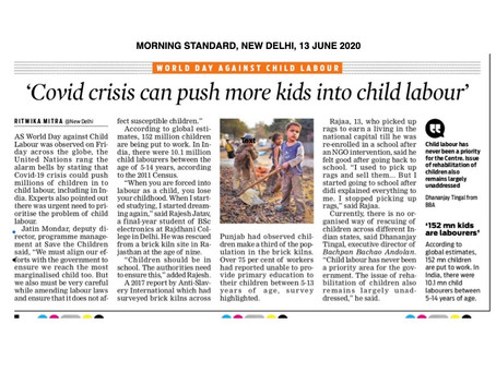 Covid crisis can push more kids into child labour