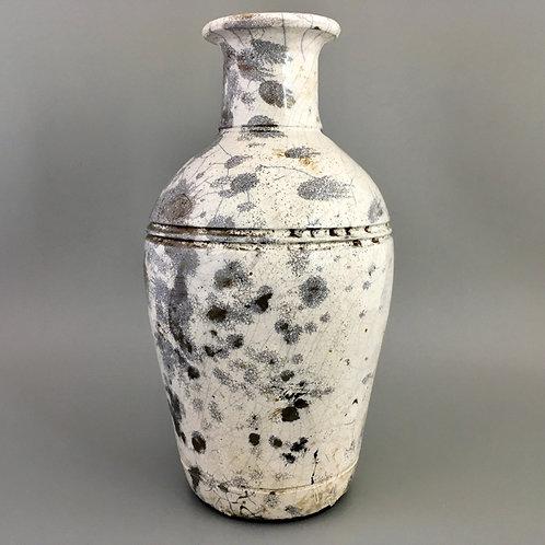 White crackle raku vase