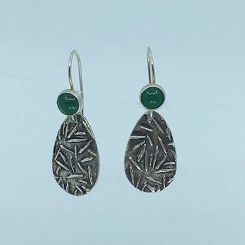 Patterned Teardrop-shaped Earrings with Jade Stone