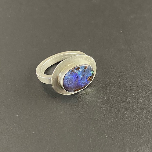 Sterling and Boulder Opal Ring