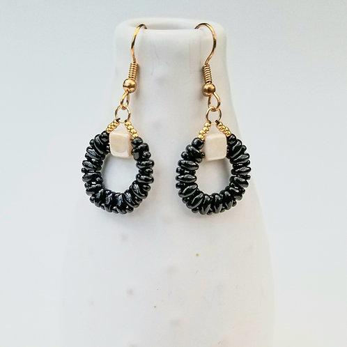 Classic Black & Ivory Beaded Earrings