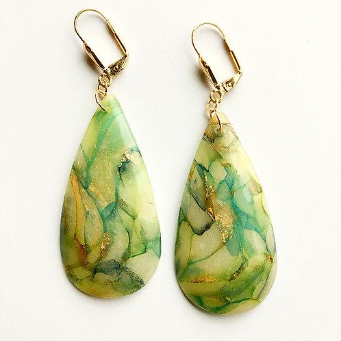 Faux glass blue-green marbled earrings