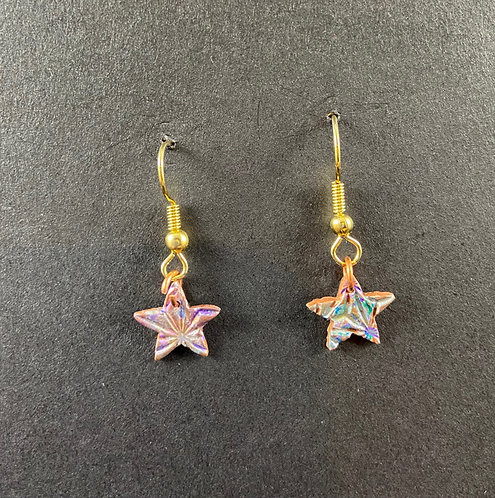 Hand-Colored Copper Star Dangles