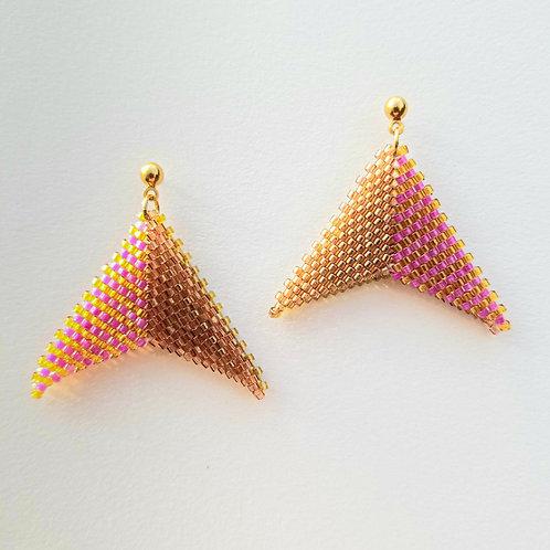 Folded Geometric Beaded Earrings