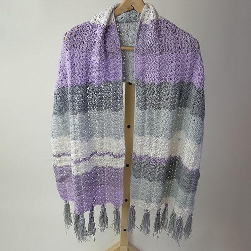 Shawl, lavender and grey