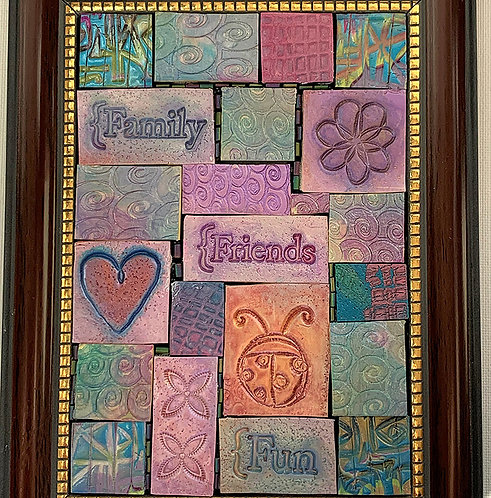 Family, Friends, and Fun' Pastel 3D Mosaic 4.5 x 6.5in