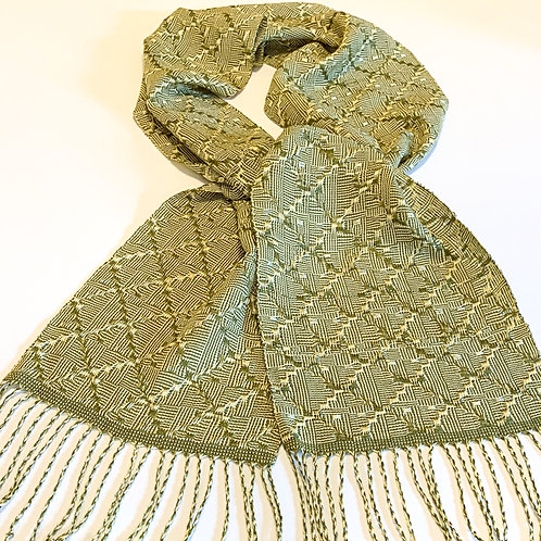 "Handwoven scarf ""Forest Diamonds"" ultra-soft, twisted fringe"