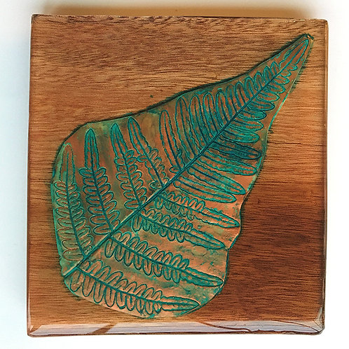 Copper fern leaf coaster