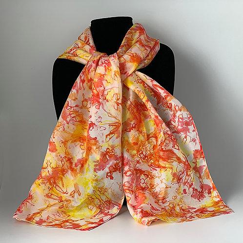 Hand dyed silk scarf - Red, Orange, Yellow