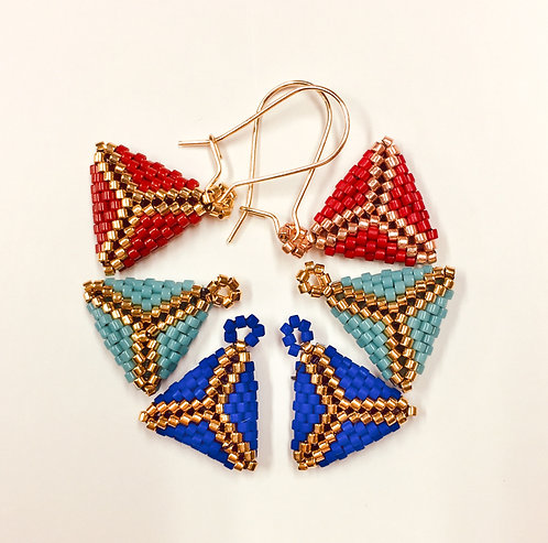 Bitty Triangle Earring Trio red/blue/turquoise and gold