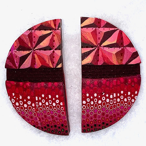 Red Veneer Earrings