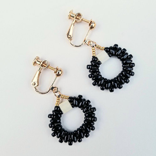 Classic Black & Ivory Beaded Earrings (Screwback)