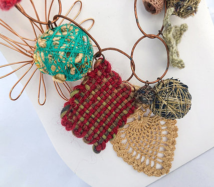 Fiber Jewelry Necklace. Mixed media with Stitched Charms