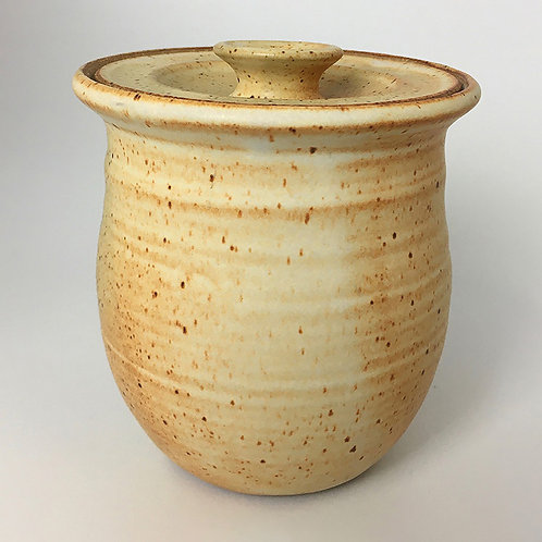 Covered Jar- beige/yellow