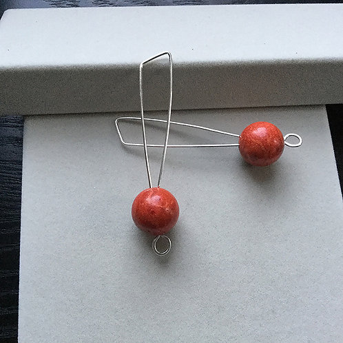 Sterling Silver and Corals Earrings
