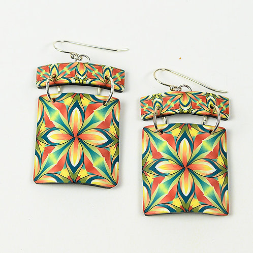 Orange and Green Tile Earrings
