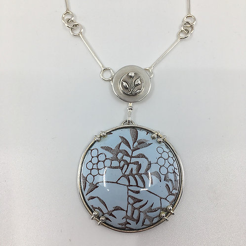 Circular Enameled Pendant with Hand-crafted Chain