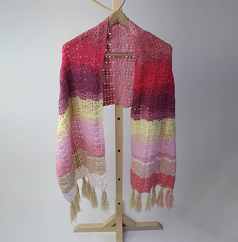 Shawl, maroon, red and yellow