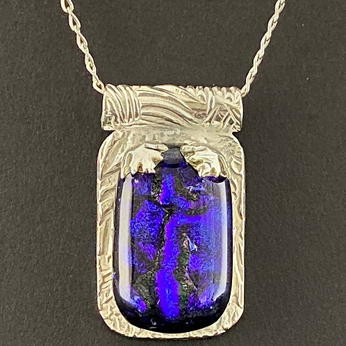 Hand-Molded Fine Silver and Glass Pendant