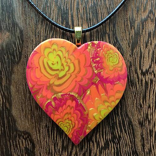 Red-orange-gold chrysanthemum heart
