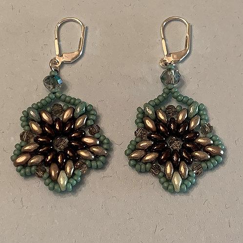 Sea foam and Copper beaded earrings