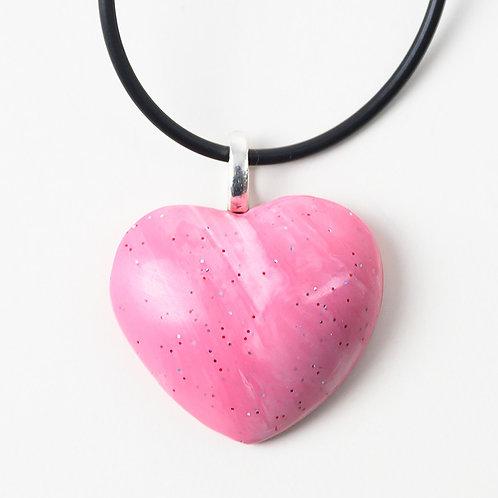 Pink Heart Puff Pendant