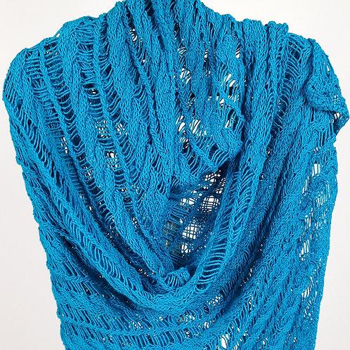 Aqua Blue Cotton-Rayon Cable and Dropstich Shawl