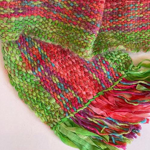 Handwoven, multifiber scarf