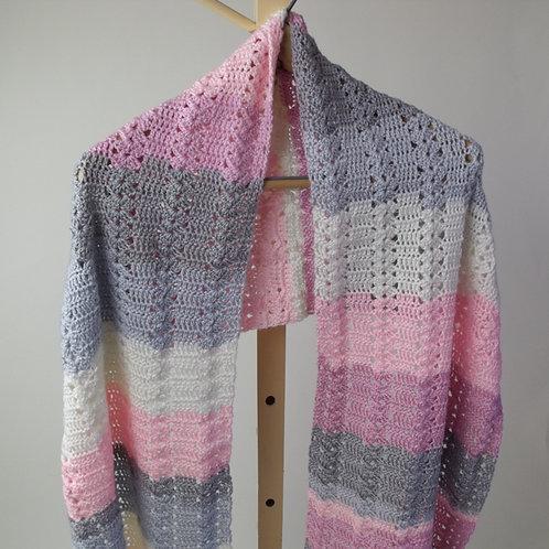Shawl, dark pink, light pink and grey