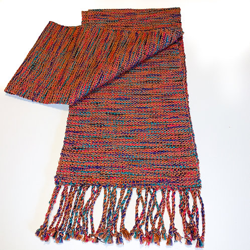 "Handwoven scarf ""Ledges"", twisted fringe"