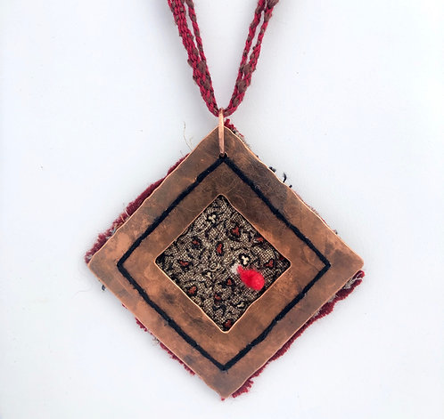 Quilted square pendant