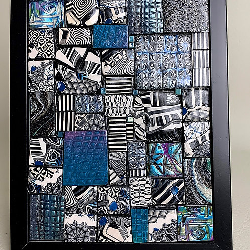 'Black and Blue' 3D 5x7in Polymer Mosaic
