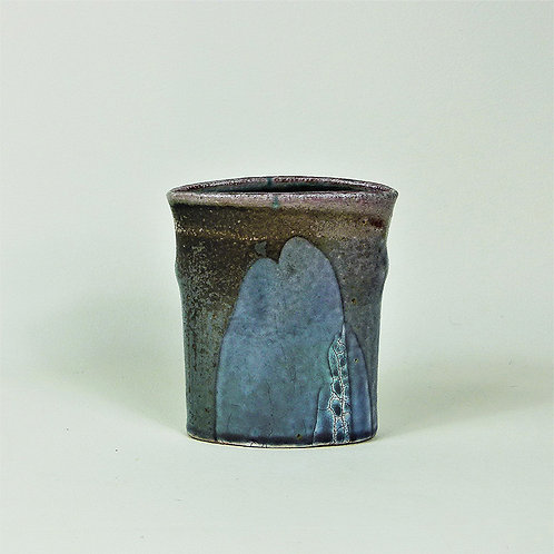 Vase Oval Pour Slip Blue Crackle Rest Grey Brown
