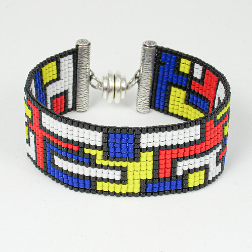 Bold and Bright Collage Beaded Bracelet