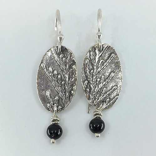 Patterned Oval-shaped Earrings with Black Beads