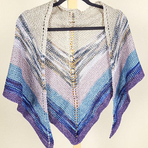 Triangular Striped Cotton-Rayon Shawl