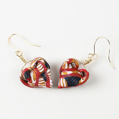 Petite Folded Heart Earrings