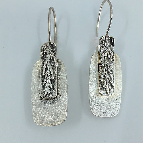 Rectangular-shaped Sterling Earrings with Patterned Overlay