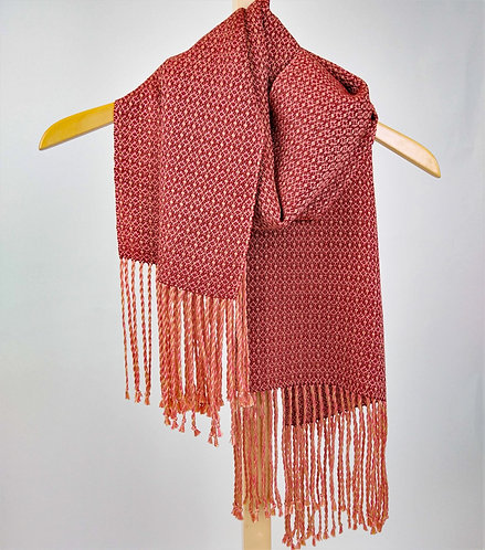 Autumn flowers scarf, handwoven gold, coral, and spice