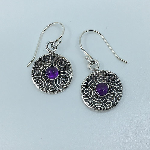 Patterned Disk Earrings Set with Round Amethyst Stone