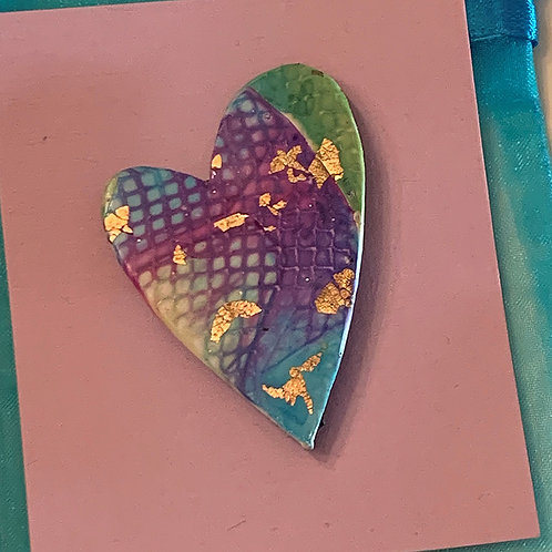Heart Pin - Textures, inks and gold foil