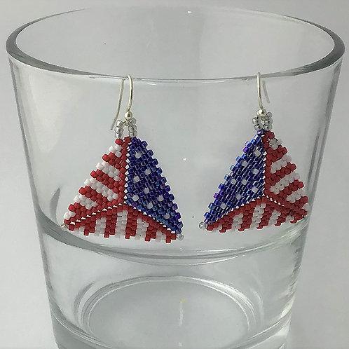 Beaded Triangle Earrings in Patriotic Flag pattern