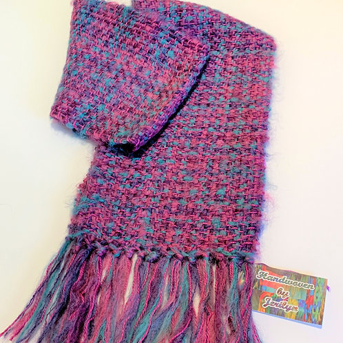 "Handwoven scarf ""Cotton Candy"", soft and fuzzy"