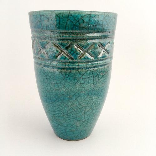 Turquoise crackle raku vase with border carving