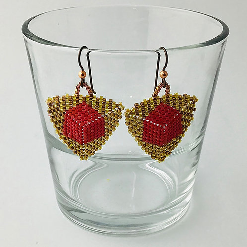 Cube in a Triangle Earrings in berry and rose gold beads