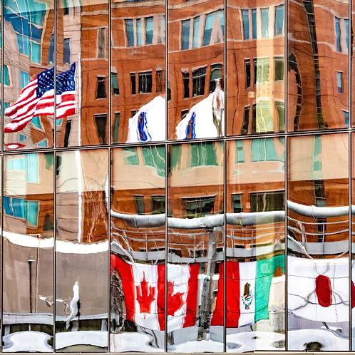 Boston Seaport Flag Reflection