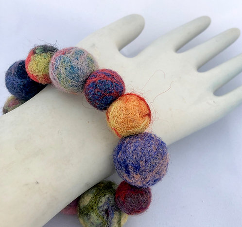 Needle felted Bead Bracelet with Magnetic Clasp